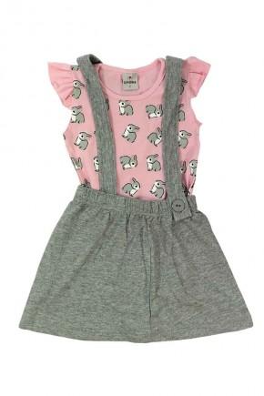 conjunto infantil feminino camisa rosa de coelhinho e vestidinho macaquinho