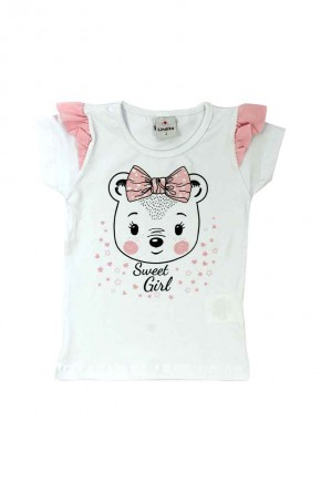blusa infantil feminina em cotton estampa sweet girl branca
