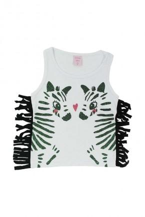 camiseta infantil feminina zebra branca
