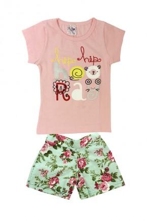 conjunto infantil feminino pitico rosa hiphip