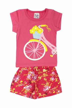 conjunto infantil feminino bicicleta com flores