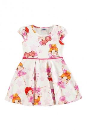 vestido infantil estampa bonequinhas na cor marfim