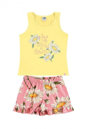 conjunto infantil feminino camisa amarela e saia floral