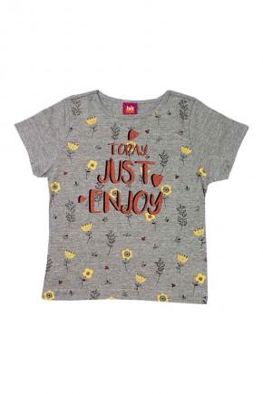 camiseta infanitl feminina today just enjoy mescla