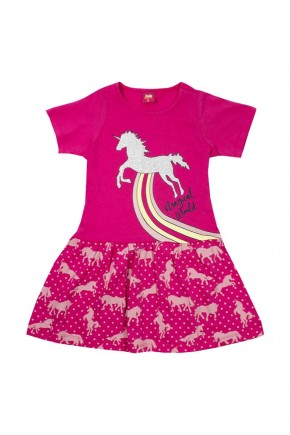 vestido infantil magical world rosa