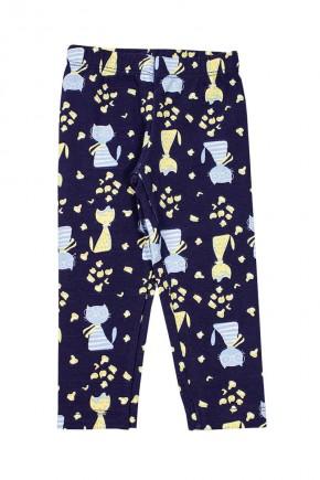 calca feminina azul estampada de gatinho
