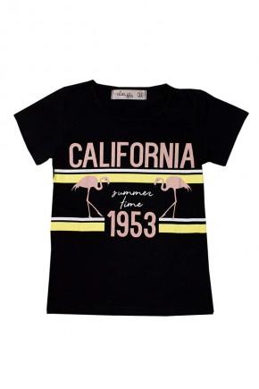 camiseta infantil feminina california summer preto