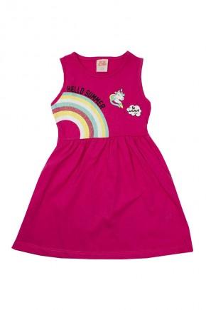 vestido infantil hello summer pink