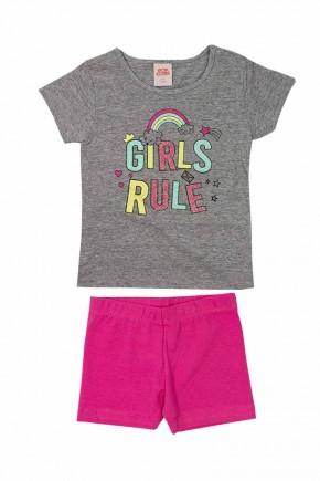 conjunto infantil feminino girls rule mescla