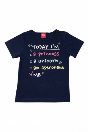camiseta infantil feminina today i am marinho