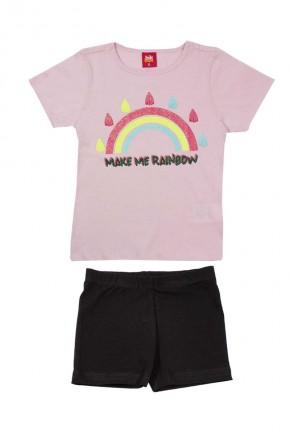 conjunto infantil feminino make me rainbow rosa claro