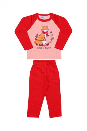 conjunto infantil feminino inverno raposinha rosa e vermelho