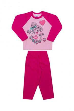 conjunto infantil feminino inverno menina balao rosa
