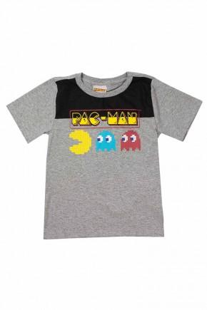 camiseta masculina pac mac mescla e preto