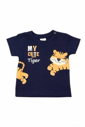 camiseta masculina cute tiger marinho
