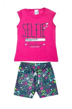 conjunto infantil feminino selfie rosa conjunto